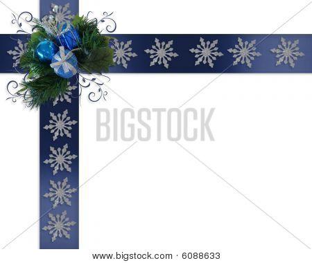 Holiday border Snowflakes on blue ribbons