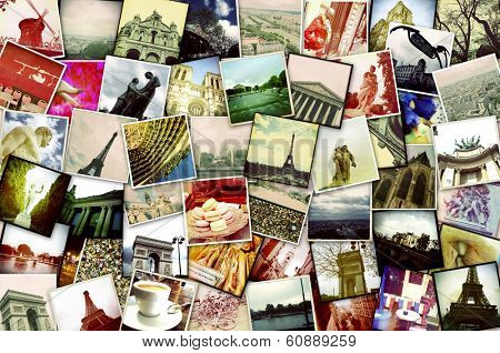 collage of different snapshots of different landmarks and scenes of Paris with filter effect
