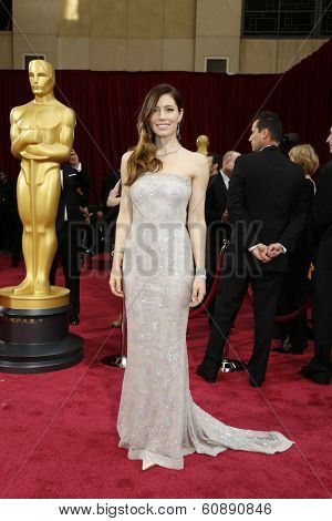 LOS ANGELES - MAR 2:  Jessica Biel at the 86th Academy Awards at Dolby Theater, Hollywood & Highland on March 2, 2014 in Los Angeles, CA