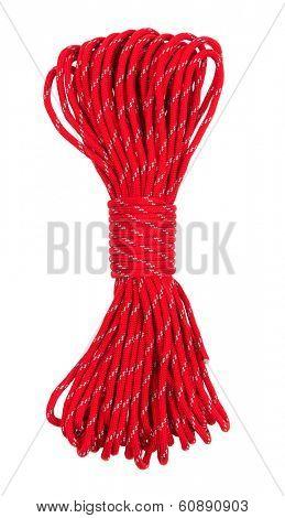 Rope isolated on white background. Parachute cordage