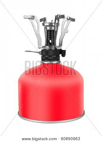 Portable Camping Stove with a butane/propane gas canister, isolated on white background