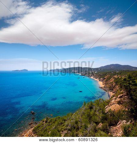 Ibiza Aigues Blanques Aguas Blancas Beach at Santa Eulalia Balearic Islands of spain