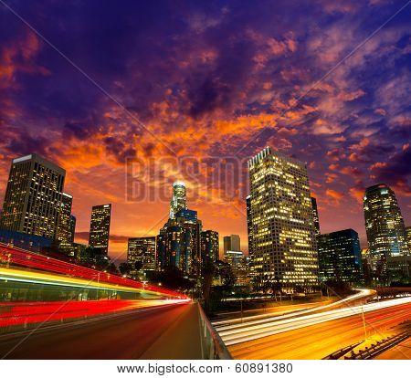 Downtown LA night Los Angeles sunset skyline California from 110 freeway