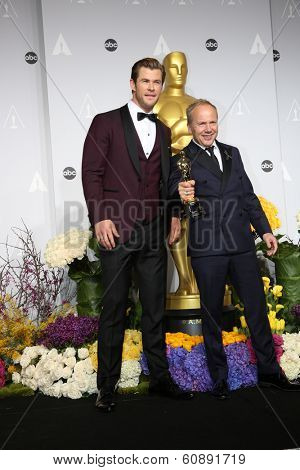 LOS ANGELES - MAR 2:  Chris Hemsworth, Glenn Freemantle at the 86th Academy Awards at Dolby Theater, Hollywood & Highland on March 2, 2014 in Los Angeles, CA