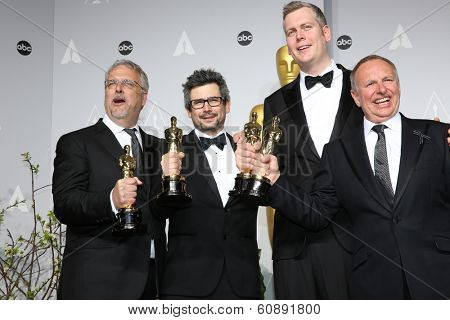 LOS ANGELES - MAR 2:  Sound editors Skip Lievsay, Niv Adiri, Christopher Benstead, and Chris Munro at the 86th Academy Awards at Dolby Theater, Hollywood & Highland on March 2, 2014 in Los Angeles, CA