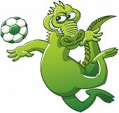 Cool green alligator keeping balance with its arms and tail in a mischievous attitude while floating in the air after having jumped, to be able to stare at a soccer ball and head it powerfully poster