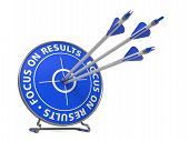 Focus on Results Slogan. Three Arrows Hit in Blue Target. poster