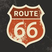 Route 66 sign on a grunge background, vector illustration poster