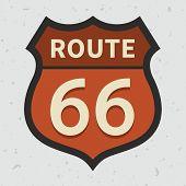 Route 66 sign on a grunge background, vintage vector illustration poster