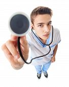 Wide angle top view of young doctor with stethoscope isolated on white background poster