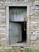 farm building door in hawes, yorkshire dales, uk. poster