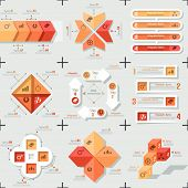 Set of 9 flat minimal infographic templates. Vector. Can be used for web design, workflow layout, social media, entertainment and games. poster