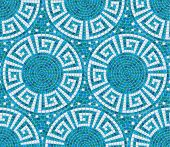 Seamless mosaic pattern - Blue ceramic tile - classic geometric ornament poster