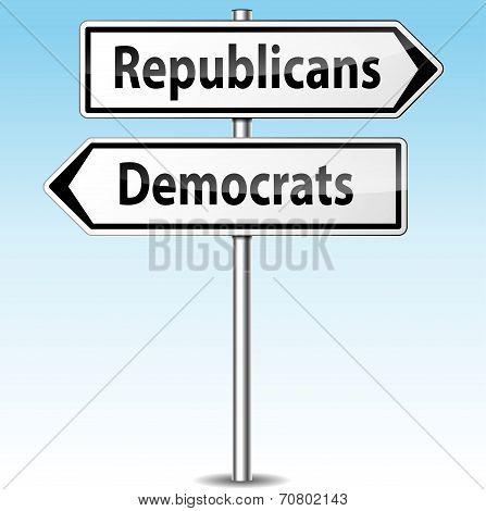 Democrats And Republicans Directions Concept