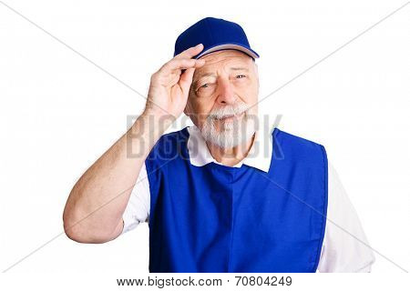 Senior man working as a greeter for a retail chain because he lost his retirement pension.