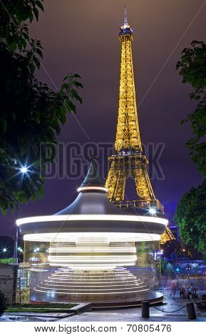The Eiffel Tower And Carousel In Paris