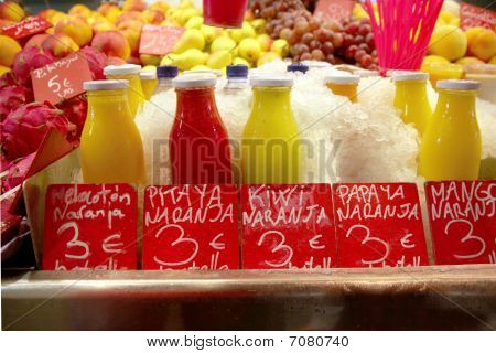 Bottled Fruit Shakes On Food Market