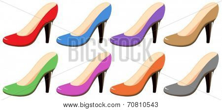 Illustration of different colors highheels