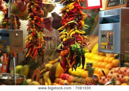 Yellow, Green, Red And Oragne Chilli Pepper On Food Market