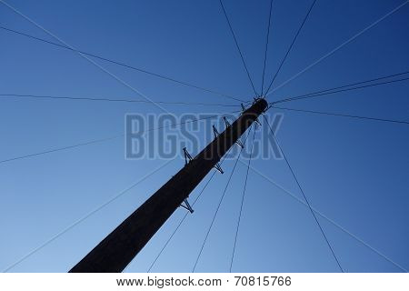 Wires Radiating from Telegraph Pole