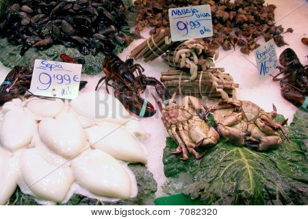 selection of seafood on foodmarket displayed on ice poster