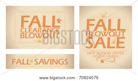Fall blowout sale banners set.