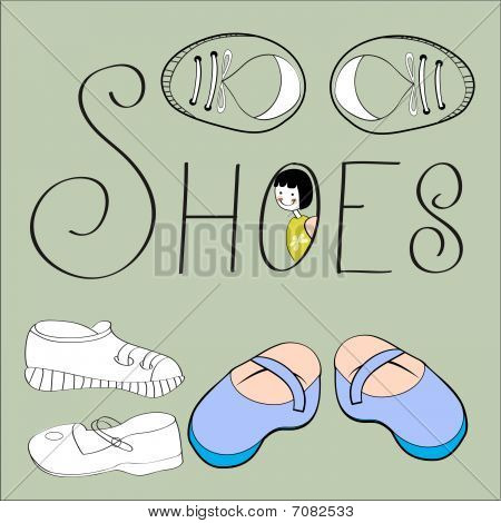 Decorative background with shoes