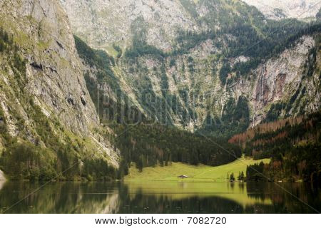 Lake View Obersee Near Königssee Berchtesgarden Alps