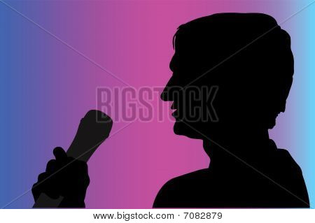 Vector illustration of man with microphone