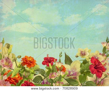 Painted flowers on a background in vintage style