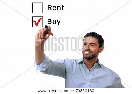 Business Man Choosing Rent Or Buy Option At Formular Real Estate Concept