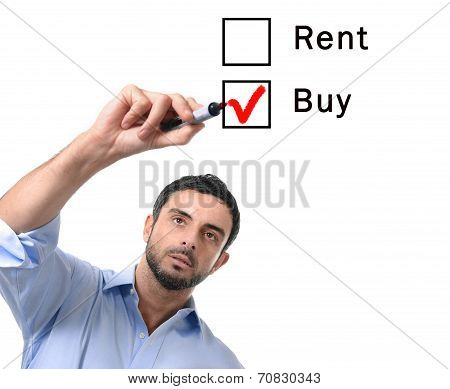 young handsome business man choosing rent or buy option at formular ticking buying box with red marker on glass isolated on white background in housing real estate and property owner concept poster