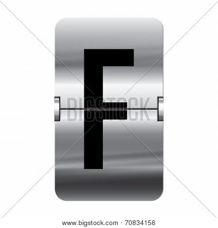 Silver Flipboard Letter - Departure Board - F