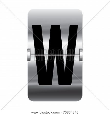 Silver Flipboard Letter - Departure Board - W