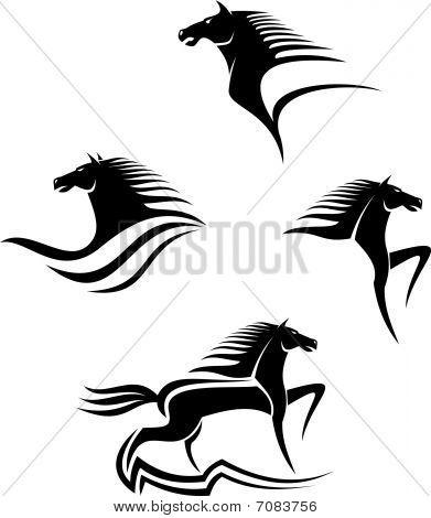 Conjunto de símbolos de caballos negros