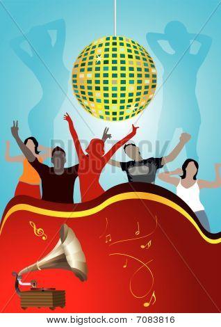 Disco Abbildung mit Globe und Tanz Teenager