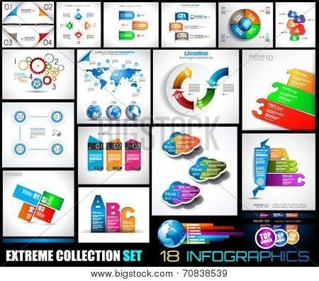 Collection of 18 Infographics for social media and clouds. Flat style UI design elements for your business projects, seo diagrams and solution ranking presentazions