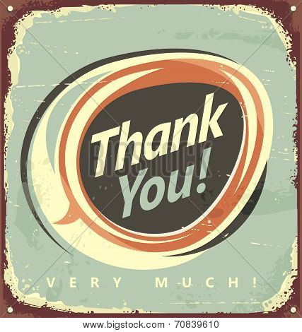 Thank you vintage metal sign. Promotional retro design. poster