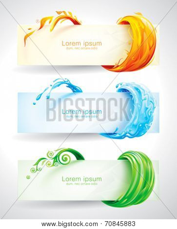 Set of fire, water and green elements banner background. Vector.