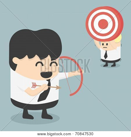 Businessman Shooting Target With A Bow Eps.10