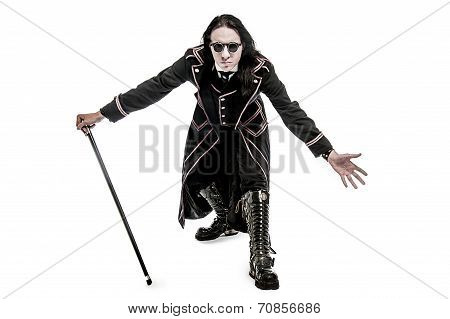 Victorian Costume Character With Cane And Leather Boots