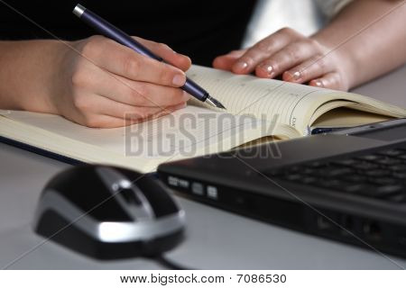 Beautiful Female Hands Writing In An Agenda