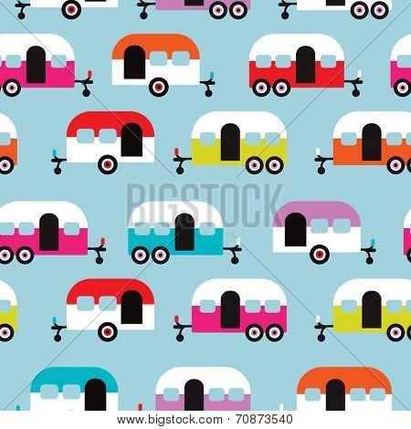 Seamless happy camper caravan retro illustration background pattern in vector