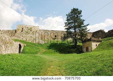 The interior of fortress dating from around the fourteenth century in Jajce in the Bosanska Krajina region of cental Bosnia and Herzegovina. It was built by Hrvoje Vukcic Hrvatinic the founder of Jajce. The southeast exit can be seen on the left poster