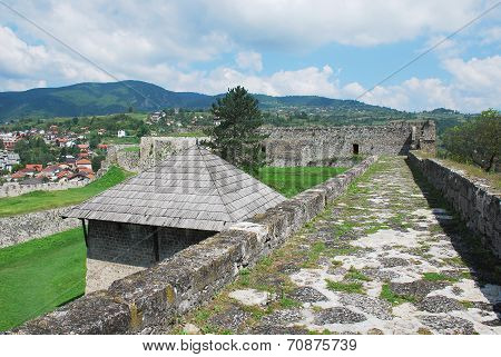 Fortress dating from around the fourteenth century in Jajce in the Bosanska Krajina region of cental Bosnia and Herzegovina. It was built by Hrvoje Vukcic Hrvatinic the founder of Jajce. The roof of the barutana (powder tower) can be seen on the left poster