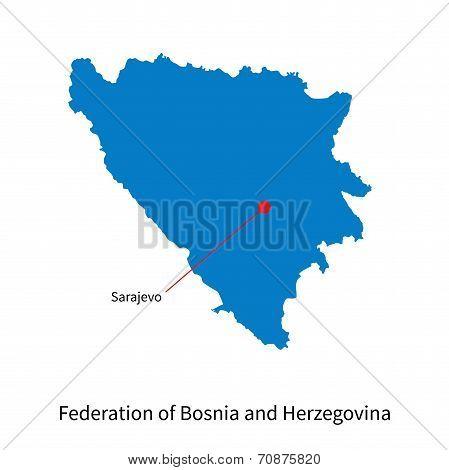 Detailed vector map of Federation of Bosnia and Herzegovina and capital city Sarajevo