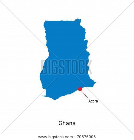 Detailed vector map of Ghana and capital city Accra poster