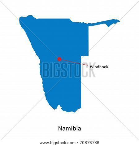 Detailed vector map of Namibia and capital city Windhoek