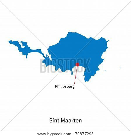 Detailed vector map of Sint Maarten and capital city Philipsburg poster