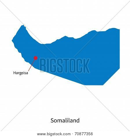 Detailed vector map of Somaliland and capital city Hargeisa poster